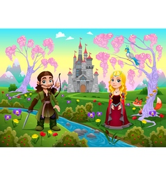Medieval couple in a landscape with castle vector image vector image