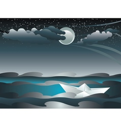 Paper Boat in the Sea3 vector image