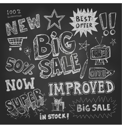 Sale tag and pricing doodles vector image