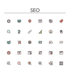 SEO Colored Line Icons vector image vector image