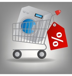 supermarket shopping cart with washing m vector image vector image