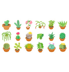cactus icon set cartoon style vector image