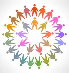 circle of colorful people pictogram vector image vector image