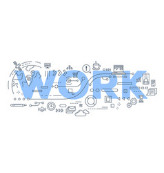 creative of work word lettering vector image vector image
