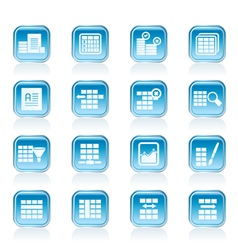 Database and Table Formatting Icons vector image vector image