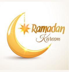 ramadan kareem golden crescent moon vector image vector image