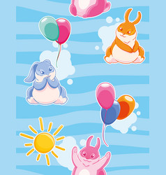 seamless pattern with with funny rabbits painted vector image