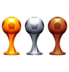 soccer trophy cups vector image vector image