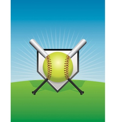 Softball and Bats vector image vector image