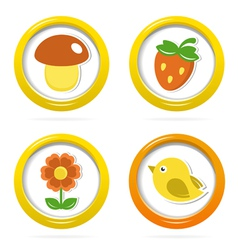 Summer icons in colorful bubbles vector image vector image