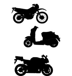 three of motorcycle help for designers vector image vector image