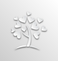 Tree with hearts for valentines day paper cut vector