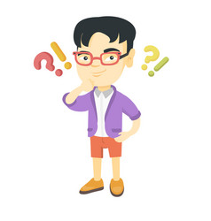boy standing under question and exclamation marks vector image