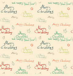 Color christmas calligraphic seamless pattern on vector
