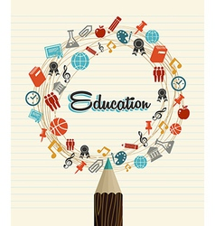 Education global icons back to school pencil vector image vector image