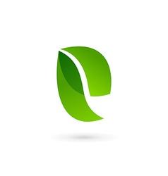Letter E eco leaves logo icon design template vector image