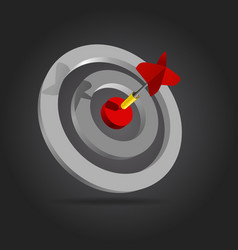 Red dart in the center of the target vector image vector image