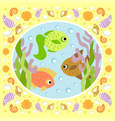 background sea card with fish vector image