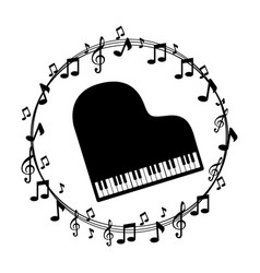border musical notes with piano vector image