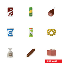 Flat icon meal set of packet beverage smoked vector