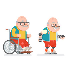 wheelchair grandfather active lifestyle roller vector image vector image