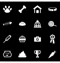 white pet icon set vector image