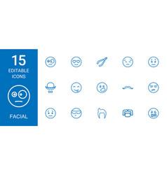 15 facial icons vector