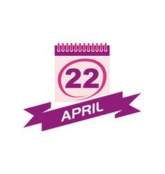 22 april calendar with ribbon vector