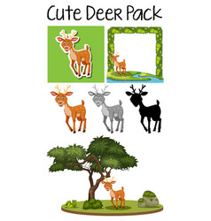 a pack of cute deer vector image