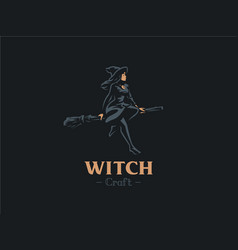 A woman witch flies on a broomstick vector