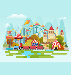 Amusement park concept on the mountains vector