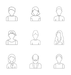 Avatar set icons in outline style Big collection vector image
