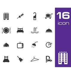 black hotel icon set on white background vector image