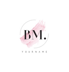 bm watercolor letter logo design with circular vector image