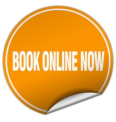 book online now round orange sticker isolated on vector image