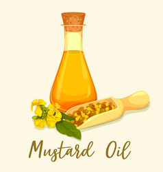 Bottle with mustard oil with seeds in scoop vector