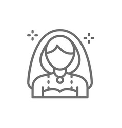 bride girl with veil line icon vector image