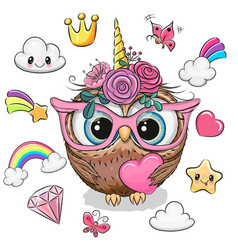 Cartoon owl unicorn girl and set cute design vector