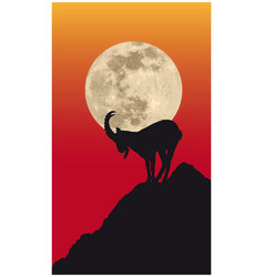 chamois silhouette in front moon on the vector image