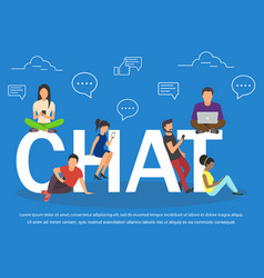 Chat of young people using mobile vector