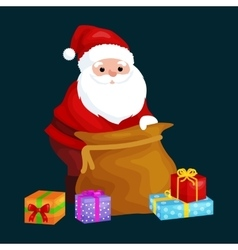christmas santa claus with bag full presents vector image