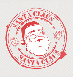 christmas stamp with santa claus look with text vector image