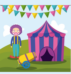 circus tent with clown and cannon vector image