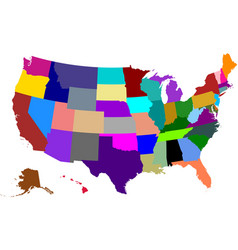 Colored map of usa vector