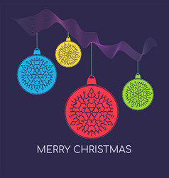 contrast christmas background with colorful balls vector image