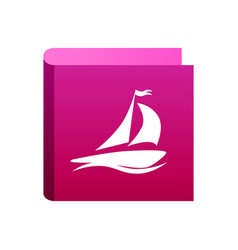 cruise ship icon pink color isolated white vector image