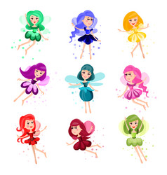 cute cartoon flying girly fairies of different vector image