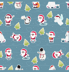 cute flat style christmas characters seamless vector image