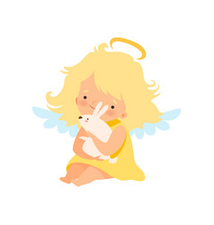 cute girl angel with nimbus and wings holding vector image