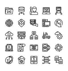 Data management line icons pack vector